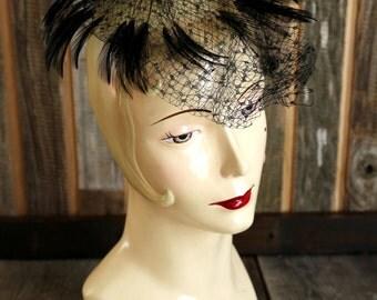 SALE - Feather Hat 1950s Net Head Wear