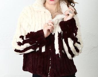 SALE Rabbit Fur COAT Striped C. Grantston Bullard Jacket