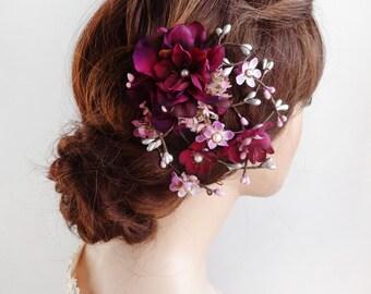 plum hair clip, hair clips women, plum wedding headpiece, eggplant purple headpiece, plum and silver headpiece, wedding hair accessories