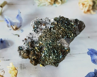 Marcasite - Marcasite Crystal Naturally Iridescent - Marcasite Calcite Crystal Cluster - Rainbow Iridescent Marcasite Calcite Geode Cluster