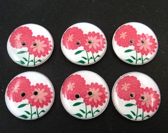 Zinnia or Mum Flower - Handmade Buttons - for sewing, knitting, embellishments and more
