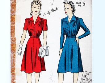1940s Dress Pattern, Womens Bust 40, Vintage Sewing Pattern, 40s Shirtwaist Dress, Flare Skirt Dress, Short or Long Sleeve