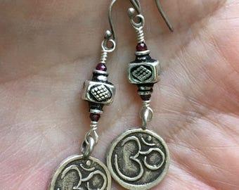 OM Earrings, OM Charm Earrings, Tribal Earrings,  Boho Jewelry, Silver Earrings, Silver OM Earrings, Tribal Jewelry,  Boho Earrings,