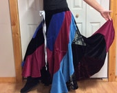 Long Patchwork Velvet Maxi Plus Size Sweep Skirt with Pockets/Stretch Velvet/Bohemian/Hippie/Gypsy/Upcycled Recycled/Womens Size 3X