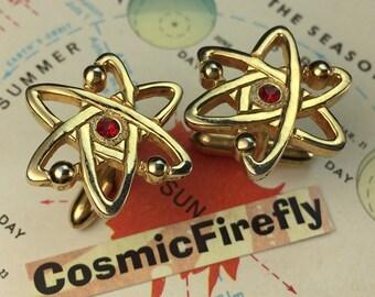 SWANK Brand Vintage Cufflinks Atomic Atoms Cufflinks Steampunk Space Age Cufflinks Men's Cufflinks Antique Cufflinks Gold Plated Cufflinks
