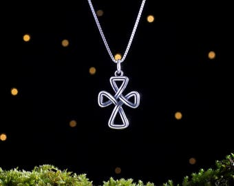 Sterling Silver Celtic Cross Infinity Knot - 3D Double Sided -  (Pendant, Necklace or Earrings)