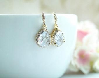 SPECIAL PRICE - Gold Wedding Bridal Earrings LARGE Teardrop Cubic Zirconia Dangle Earrings Bridal Sets Bridesmaid Gift Vintage Style wedding