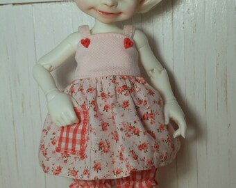 Pink and Red Floral Jumper Dress and Bloomers Set for Fairyland Realfee bjd abjd tiny
