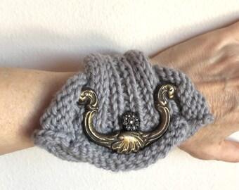 Knit Wrap Statement Bracelet with Vintage Detail