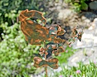 Golden Retriever Metal Garden Art Stake, Copper Dog Sculpture, Memorial Garden Marker, Golden Retriever Art, Metal Yard Art Garden Stake,