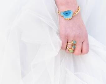 TIDAL Trio Aqua Aura Quartz Ring, Aqua Aura Quartz, Aura Quartz Ring, Aqua Crystal Ring, Bridesmaids, Bridal Ring, Gold Ring, OOAK Ring, xox