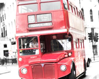 London Photography - Red Bus #15, Classic London, Double Decker Bus, England Travel Photo, Urban Home Decor, Large Wall Art