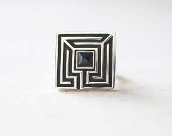 Unisex Square Maze Ring - Sterling Silver Labyrinth, Signet Ring with Iolite, Men's Ring, Puzzle Ring, Handmade Jewelry by Prairieoats