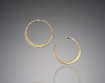 Small Gold Hoop Earrings // Hammered Gold Hoop Earrings 1.25 inch