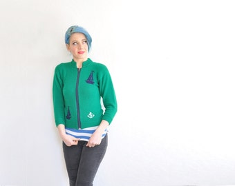 kelly green sailboat sweater . anchors aweigh nautical zipper cardigan .extra small.xs