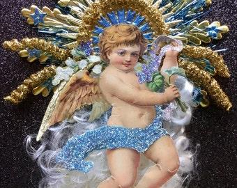 Handmade Vintage Look Angel Christmas Ornament Victorian-German Angel Scrap,German Dresdens,Vintage Tinsel,Spun Glass Angel Hair