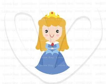Princess Aurora in blue gown  Clip Art ( Movie Inspired ) - A50B