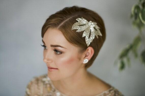 Gold leaf wedding comb, silver leaf bridal comb, 1930s wedding comb, vintage leaf wedding comb, vintage wedding comb, beaded comb - Olivia