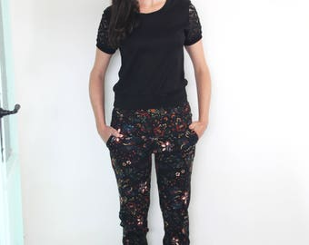 Boho floral skinny jeans \  Black folklore flower print Cotton drill trousers
