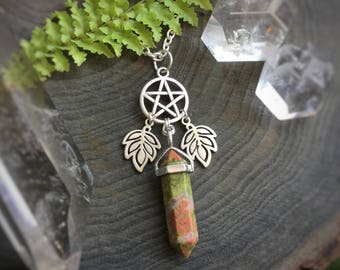 Crystal Pentacle necklace, Earth Witch, wiccan jewelry, Amethyst, Opalite, Rose Quartz, Obsidian, you choose