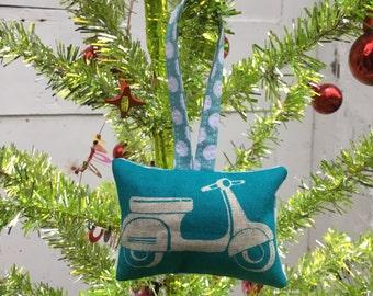 Etsuko Furuya for Kokka Echino Blue Scooter Fabric Little Ornament by SBMathieu