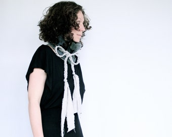 Crochet Fitted Cowl Neck Warmer with Black Leather Accent and Braided Bow Tie Ends