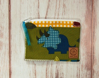 Snack Size Reusable Bag - Zipper Pouch - Sandwich Bag - Reusable Bag - Dino Roars
