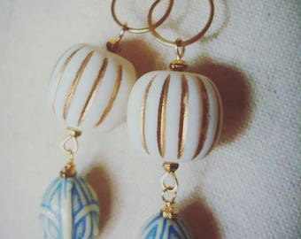 Royal Earrings - Gold & Blue - One of a Kind