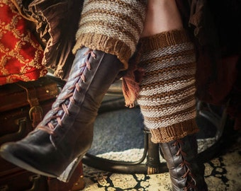 Wildling Knits Pair of Brown Striped Wool Blend Leg Warmers Boot Toppers Slouchy Socks Ready to Ship