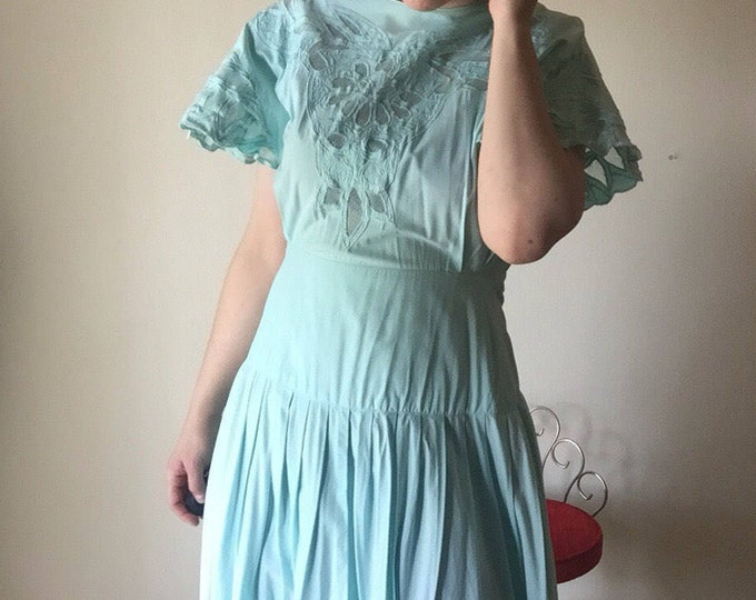 Mint Flutter Dress   cut out lace 80s vintage knife pleat pastel seafoam dropped waist womens long button up flared sleeve DRESS kitsch M L