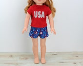 """14.5"""" Doll Clothes - AG Wellie Patriotic Outfit - Wishers Doll Clothes - 14 in Hearts for July 4th - American - Wish - Wisher - Girl"""