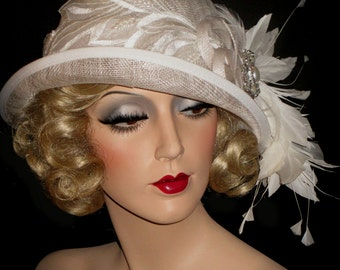 ABBEYS WHITE CLOCHE - Couture 20s Kentucky Derby Hat, White Sinamay Cloche Hat, 20s Gatsby Wedding Hat, Tea Party Hat, Downton Abbey