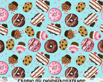 Teatime Sweets By The Yard - Dounut, Cake, Cupcakes, Chocolate Chip Cookies, and Gumball Sprinkles Print in Yard & Fat Quarter