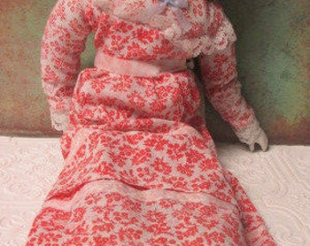 Distressed OLD PORCELAIN DOLL - Glass Hands and Feet - Cloth Body