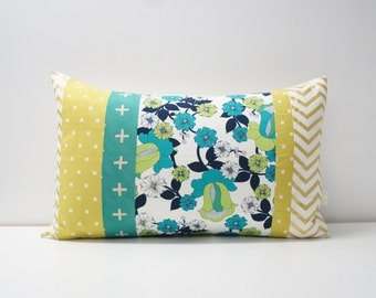 Patchwork Pillow Cover, 16x24, navy, green, gold with retro floral