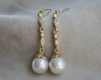 White South Sea Pearl & Marquise Diamond Dangly Earrings in 18k Yellow Gold