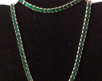 Gorgeous Green Eisenberg Rhinestone Necklace and Bracelet - Demi!