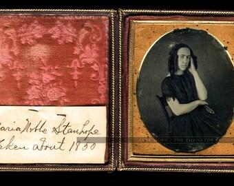 1/6 Daguerreotype Photo of Poet Artist Maria Stanhope of Seville Ohio