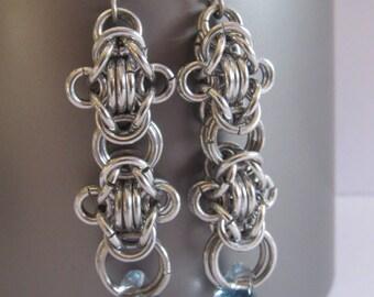 Chainmail Earrings, Double Byzantine, Long Earrings, Unicorne Bead Earrings, Chainmail Jewelry, Chain mail Earrings, Beaded Chainmaille