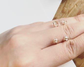 14 Karat Gold Herkimer Diamond Studs Earring Minimalist Crystal Gem Stone Pierced Dainty 14 K Filled (Pair)