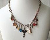 Charm necklace, Apocalypse jewelry, treasure chain necklace, post-apocalypse jewelry, boho style jewelry