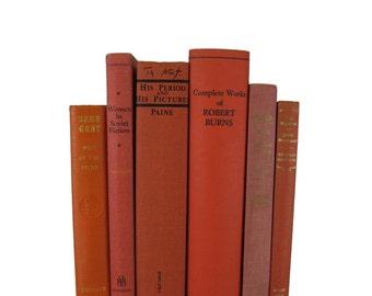 Orange Decorative Books, Vintage Wedding Decor, Photo Prop, Staging Prop, Vintage books, Book Decor, Home decor, Old Books, Interior Design