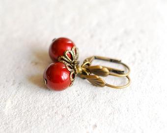 Dark Red Burgundy Pearls Earrings Swarovski Maroon Round Pearls Leverback Earrings Burgundy Wedding Jewelry mothers day gift for mom