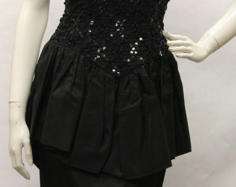 80s Vintage Dress- Women's, Backless, Little Black Dress, Sequins, w/ Rhinestones Bows, Size 7/8, Y60043
