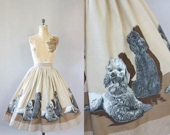 Vintage 50s Skirt/ 1950s Cotton Dress/ John Wolf Poodle Novelty Print Cotton Skirt XL