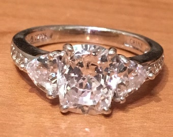 STERLING SILVER Cubic Zirconia ENGAGEMENT 3 Stone  Cz Bling 4.2 Grams Ring Size 7.25