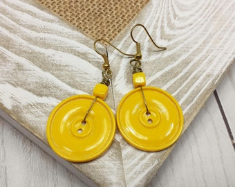 Yellow Button Earrings, Upcycled Earrings with Beautiful Yellow Vintage Sewing Buttons, Golden Yellow Drop Dangle Earrings