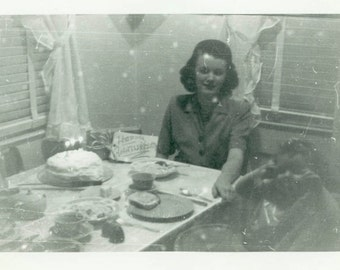 "Vintage Photo ""Celebration Table"" Blurry Odd Weird Spooky Woman Mother Child Snapshot Americana Picture Black & White Found Vernacular - 104"