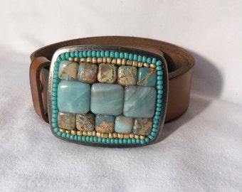 African Opal Mosaic Belt Buckle