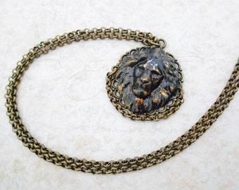 Lion Necklace, Brass Necklace, Brass Lion